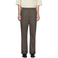 Christophe Lemaire Brown Poplin Pleated Drawstring Trousers