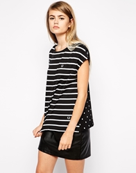 Fred Perry Polka Dot And Striped T Shirt Black