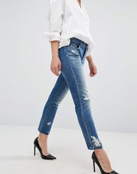 Blank Nyc Straight Leg Jean With Extreme Destroyed Detail Blue