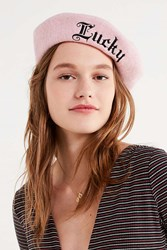 Urban Outfitters Lucky Wool Beret Rose