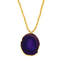 Amanda Marcucci Long Purple Agate Necklace Pink Purple Gold