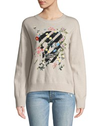 360 Sweater Aji Floral Embroidered Skull Crewneck Cashmere Pullover Pink Black
