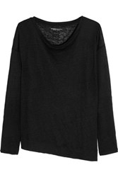 Majestic Asymmetric Linen Top Black