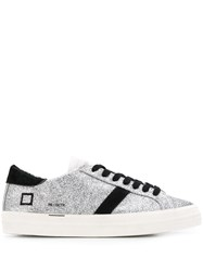 D.A.T.E. Metallic Lace Up Sneakers Silver