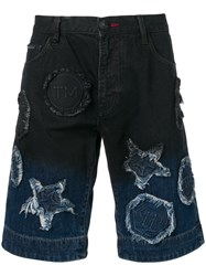 Philipp Plein Two Tone Denim Shorts Blue