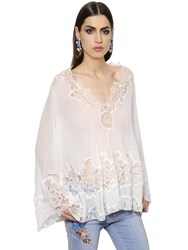 Ermanno Scervino Silk Georgette Top W Lace Details