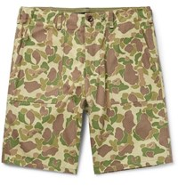 Rag And Bone Camouflage Print Cotton Canvas Shorts Green