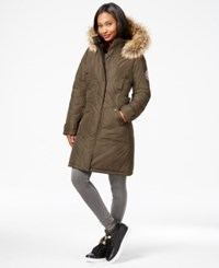 Madden Girl Madden Girl Faux Fur Trim Long Parka Olive