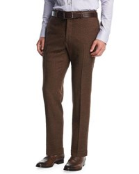 Kiton Wool Cashmere Flat Front Trousers Brown