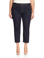 Nydj Plus Size Ira Cropped Straight Leg Jeans Dark Enzyme