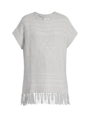 Velvet By Graham And Spencer Destinee Fringed Poncho Light Grey