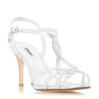 Dune Minie Knotted Strappy Mid Heel Sandals Silver