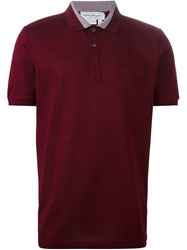 Salvatore Ferragamo Zig Zag Trim Polo Shirt Red