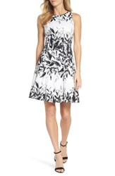 Maggy London Sateen Fit And Flare Dress White Grey