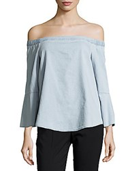 Calvin Klein Jeans Chambray Off The Shoulder Top Light Blue