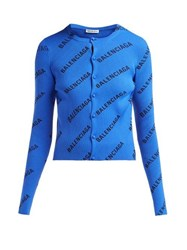 Balenciaga Diagonal Logo Print Ribbed Cardigan Black Blue