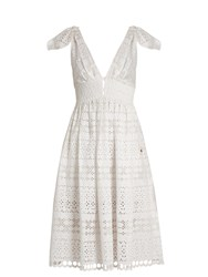 Self Portrait Tie Shoulder Broderie Anglaise Dress White