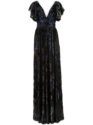Marchesa Notte Floral Print V Neck Gown Black