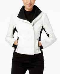 Inc International Concepts Faux Leather Colorblocked Moto Jacket Only At Macy's Black White