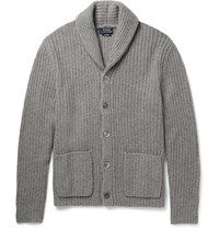 Polo Ralph Lauren Hawl Collar Ribbed Cahmere Cardigan Gray