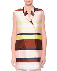 Msgm Striped Shantung Suit Vest