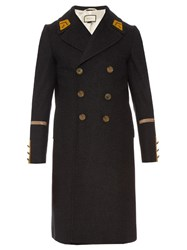 Gucci Double Breasted Wool And Cashmere Blend Overcoat Grey Multi