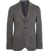 Mp Massimo Piombo Grey Slim Fit Textured Wool Blend Blazer Gray