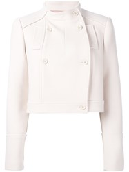 Jil Sander Navy Double Breasted Cropped Jacket Nude And Neutrals