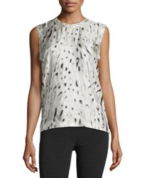Calvin Klein Sleeveless Printed Viscose Top Beige