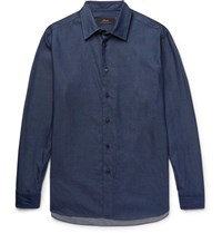 Brioni Cotton Chambray Hirt Navy