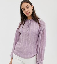 Glamorous Tall Blouse With Tie Collar And Cuffs In Dobby Spot Purple