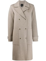 Theory Double Breasted Fitted Coat Neutrals