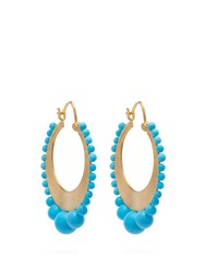 Irene Neuwirth 18Kt Gold And Kingman Turquoise Earrings