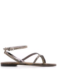 Dorothee Schumacher Snake Effect Sandals Brown