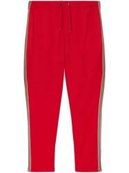 Burberry Icon Stripe Detail Jersey Trackpants Red
