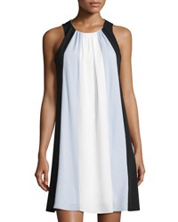 Cynthia Steffe Eva Sleeveless Colorblock A Line Dress Blue Pattern