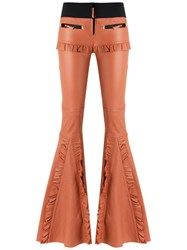 Andrea Bogosian Leather Flared Trousers Brown