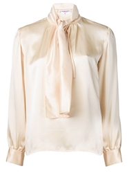Yves Saint Laurent Vintage Tie Neck Blouse Nude And Neutrals