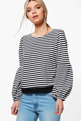 Boohoo Kimberley Striped Bell Sleeve Oversized Shirt Black