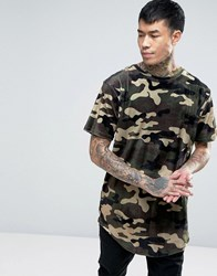 Cayler And Sons Longline Velour T Shirt In Camo Khaki Green