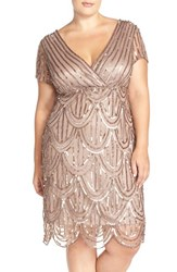 Plus Size Women's Marina Beaded Empire Waist Dress Taupe