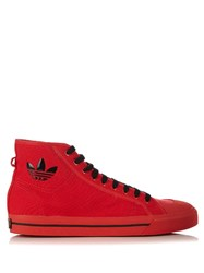 Raf Simons X Adidas Matrix Spirit High Top Canvas Trainers Red Multi