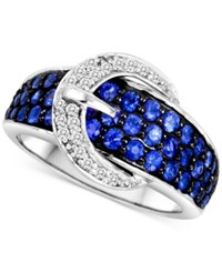Le Vian Sapphire 1 3 8 Ct. T.W. And Diamond 1 8 Ct. T.W. Buckle Ring In 14K White Gold