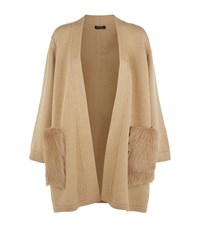 Escada Sapotto Fur Pocket Cardigan Female Camel
