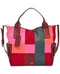 Fossil Emerson Patchwork Leather Satchel Bright Patchwork