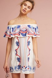 Anthropologie Embroidered Off The Shoulder Cover Up White