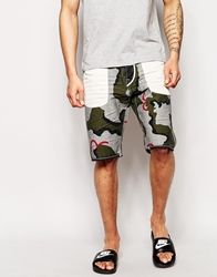 Evisu Denim Shorts 2020 Straight Fit Reversed Camo Print