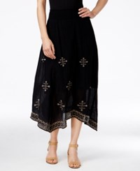 Styleandco. Style And Co. Embroidered Handkerchief Hem Midi Skirt Only At Macy's Black