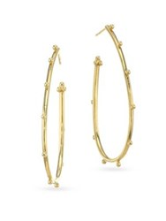 Temple St. Clair Classic 18K Yellow Gold Granulated Pear Hoop Earrings