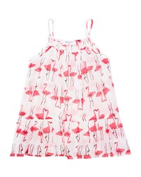 Milly Minis Sleeveless Woven Flamingo Print Coverup White Pink